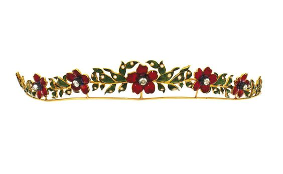 A late 19th century enamel and diamond tiara   Composed of red enamel flowerheads between green enamel foliate sections, highlighted with rose-cut diamonds, circa 1890 (photo Christies)