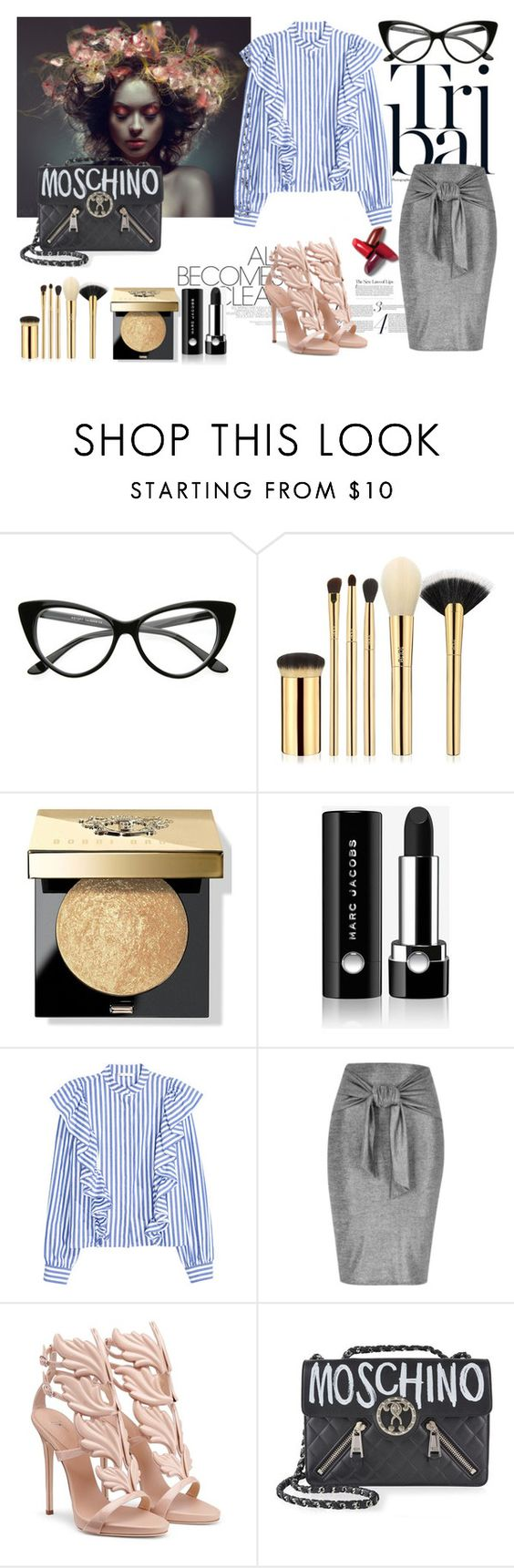"""""""Untitled #918"""" by galyasedina ❤ liked on Polyvore featuring tarte, Bobbi Brown Cosmetics, Marc Jacobs, River Island and Moschino"""