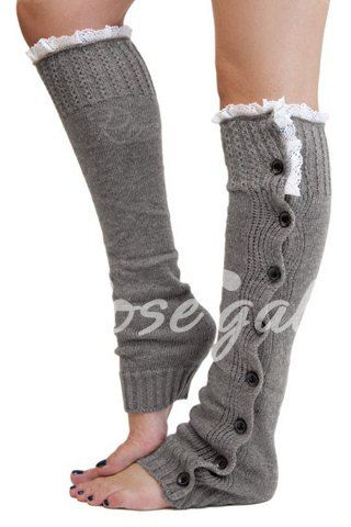 $7! Pair of Chic Lace and Button Decorated Solid Color Knitted Leg Warmers For Women Leggings | RoseGal.com Mobile: