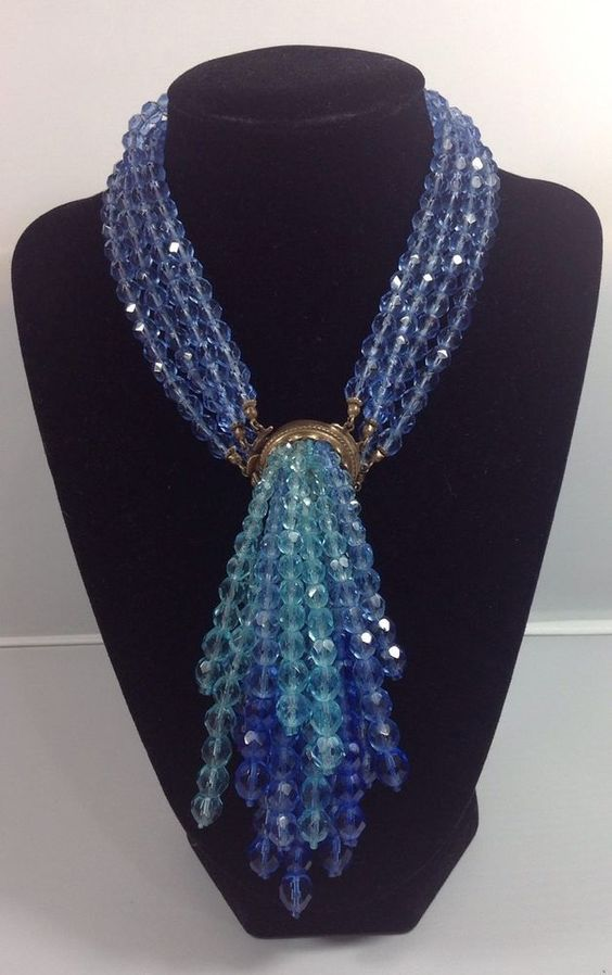 COPPOLA e TOPPO FACETED BEADS NECKLACE WITH FRONT CASCADING MOTIF, 1959! #COPPOLAeTOPPO