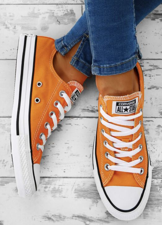 chaussures style converse orange