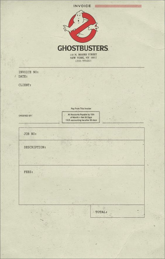 Ghostbusters Invoice 1 by T-RexJones: