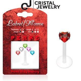Lippen Piercing aus Bioplastic Bonus Packung mit 5 bunten Herzen.