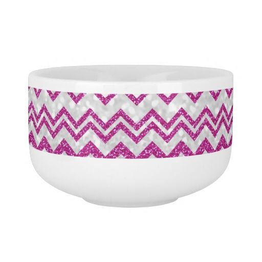 Trendy Girly Pink White Chevron Glitter Print Soup Bowl With Handle