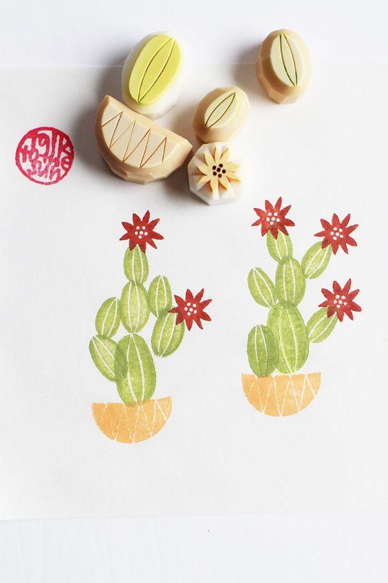 tampon gravé à la main de cactus. timbre de pot de cactus. amateurs de jardinage. scrapbooking anniversaire. emballage cadeau. artisanat de vacances. lot de 5. n ° 4