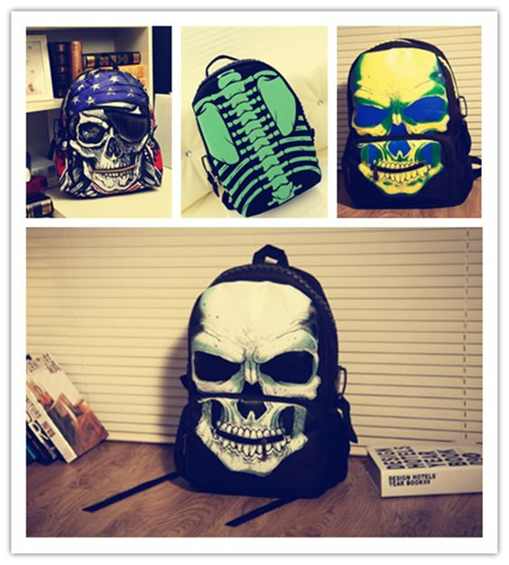 quirky pirates backpack punk skull skeleton bags edgy