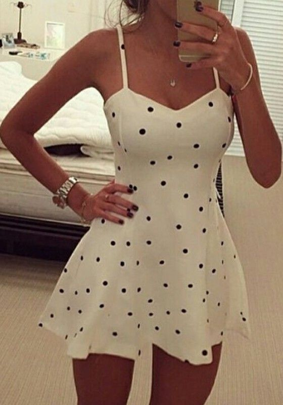 Dot Print Spaghetti Strap A Line Dress <3 | You can find this at =>…