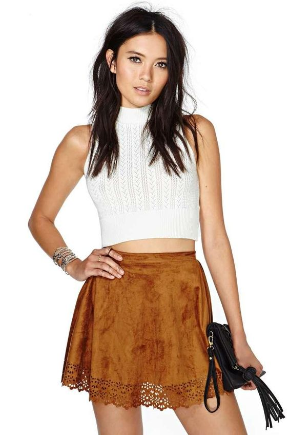 Reverse Make the Cut Skirt. White top