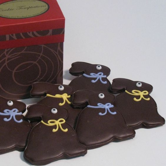 Chocolate Bunny Cookies - These sugar cookies are designed in chocolate, no frosting!