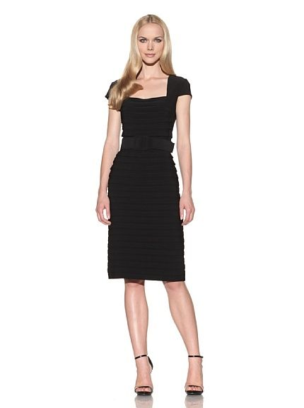 Adrianna Papell woman's Cap Sleeve Tiered Jersey Dress (BLACK) : Discount Designer at EosBuy.Com