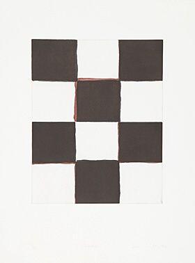 """Sean Scully, Sean Scully (geb. 1945 Dublin) """"Checker"""" Farbaquatintaradierung 1994 80 x 60 cm Pr. 50 x 40 cm"""