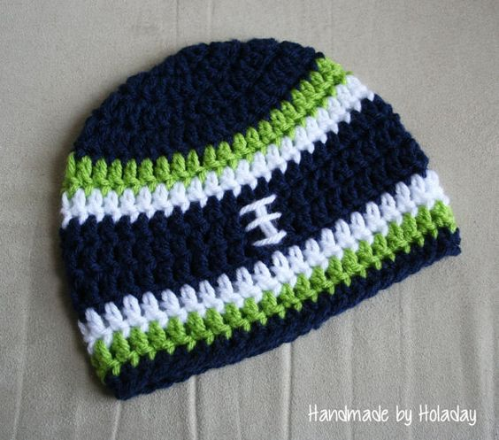 Seattle Seahawks Crochet Football Hat {Handmade by Holaday}