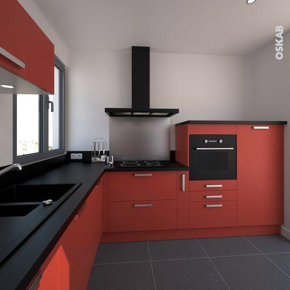 Couleur Peinture Eco Rona : Cuisine rouge et noir finition mat petite et moderne, implantation en