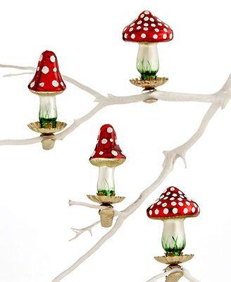 Holiday Lane Christmas Ornaments, Box of 4 Mini Mushroom