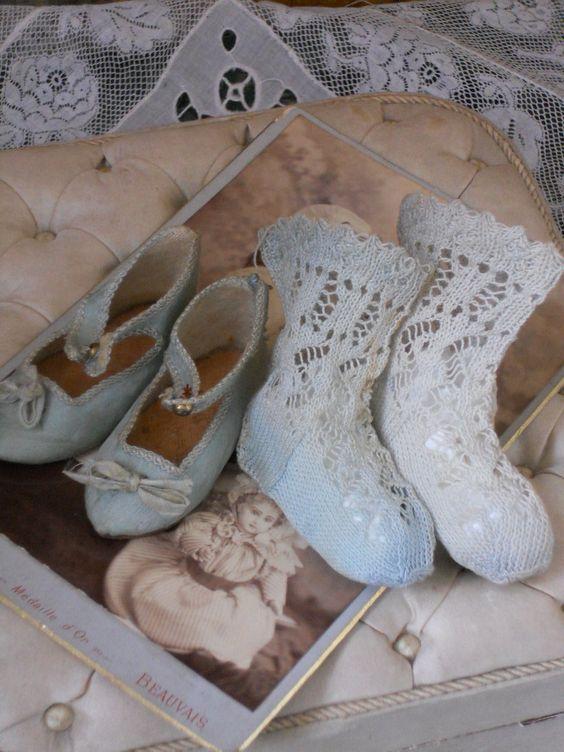 ~~~ Maravillosos zapatos jumeau de satén de seda francesa con calcetines ~~~