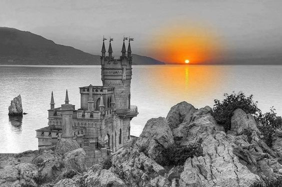 Romantic castle overlooking the sea. Wonder if any princesses lived there?