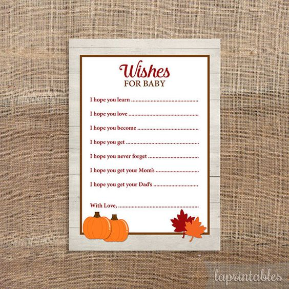 Wishes For Baby Cards Fall Pumpkin Baby Shower by laprintables