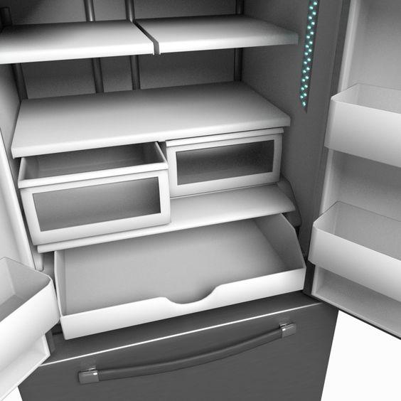 refrigerator french door Blender 3D Model