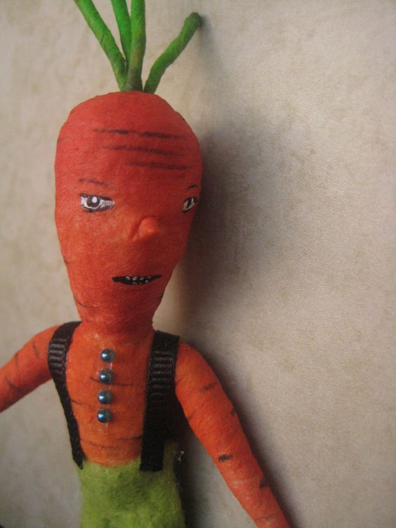 Spun Cotton Carrot boy by Maria Pahls.
