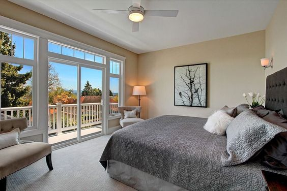 Transitional Master Bedroom with Devonshire 1 Light Wall Sconce, High ceiling, flush light, Hanna Quilt, Wall sconce, Carpet