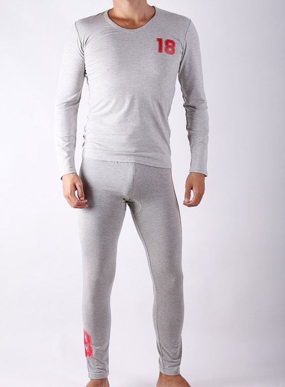 Mans sleep set  //Mens long pants /long T-shirts/long underwear/two colors/grey