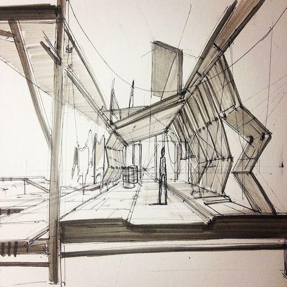 Interior Design Sketch: Tannery Interior Sketch