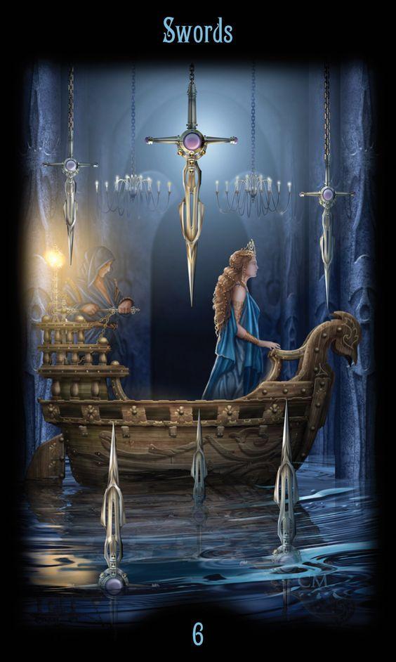 6 d'épées - Legacy of the Divine Tarot par Ciro Marchetti