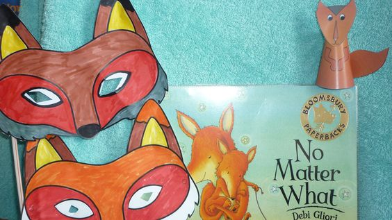 """""""No Matter What"""" book of the month for May - craft ideas, masks and finger puppets."""