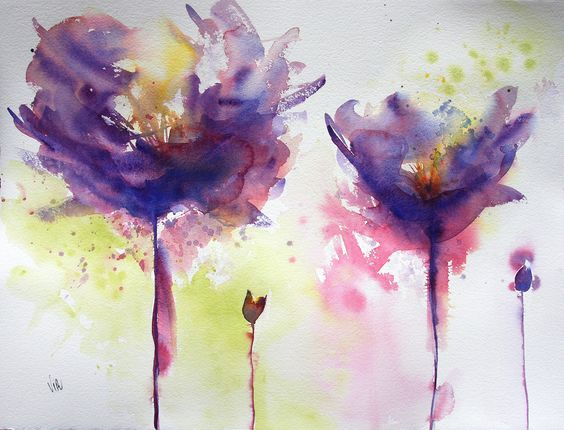 aquarelle fleurs mauves virginie schroeder aquarelles peintures sur toulouse france. Black Bedroom Furniture Sets. Home Design Ideas