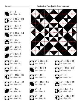 factoring quadratic expressions color worksheet 3 classroom do now pinterest colors. Black Bedroom Furniture Sets. Home Design Ideas