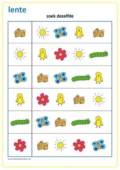 Werkblad kleuterschool, zoek dezelfde, thema lente.