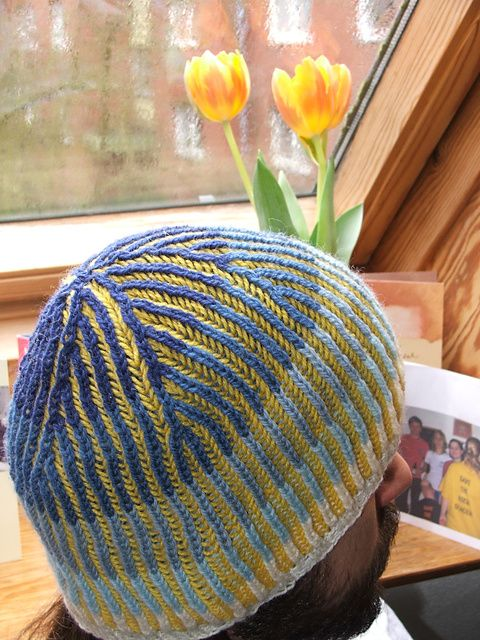Knitting With Two Colors Carrying Yarn : Man cap two color great project for left over yarn