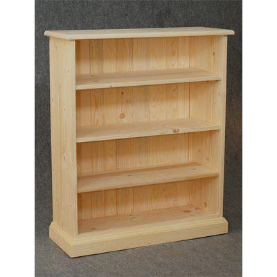 Bibliothèque en bois brut 3 étagères 75x90x28cm