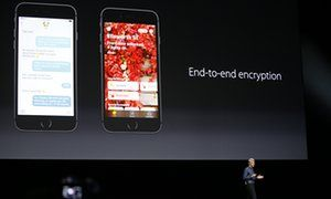Craig Federighi, Apple senior vice president of software engineering, speaks at the Apple Worldwide Developers Conference in San Francisco on 13 June. Encryption has been tightened across Apple's software products.
