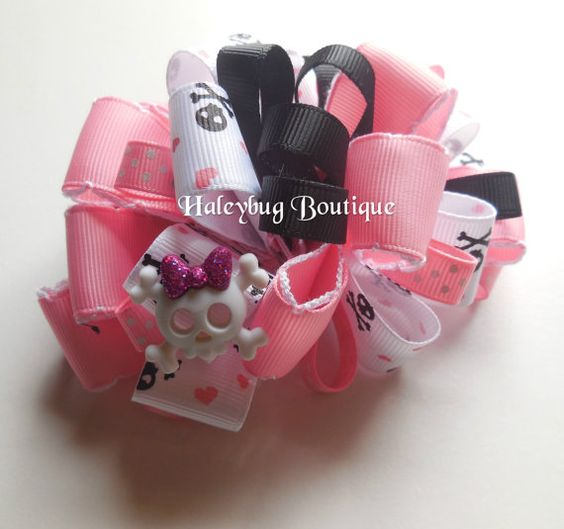 Skull And Crossbones Loopy Hair Bow Loopy by HaleybugBowCreations