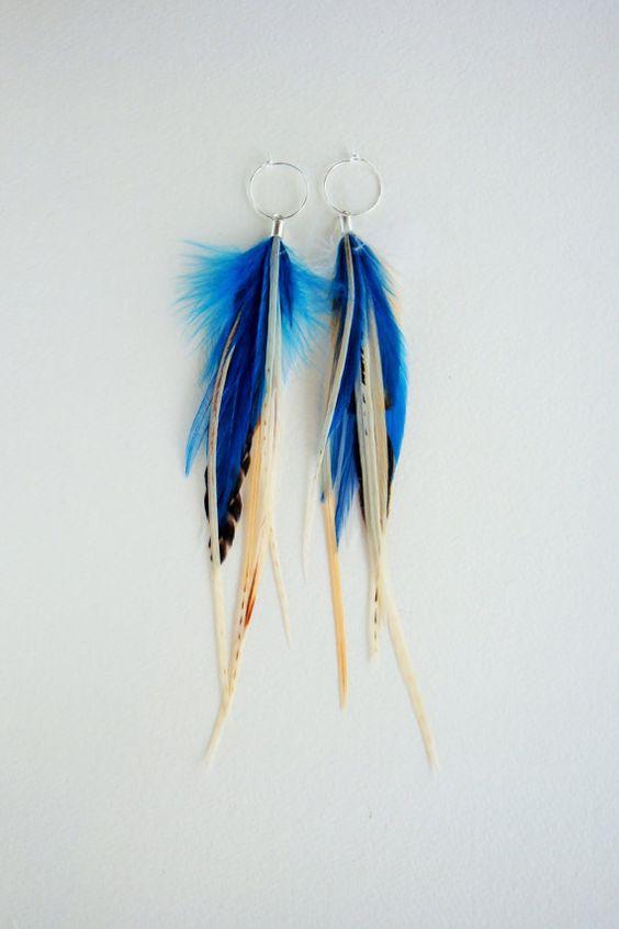 Deep Blue Sea Feather Earrings  by Mayfly Jewelry:
