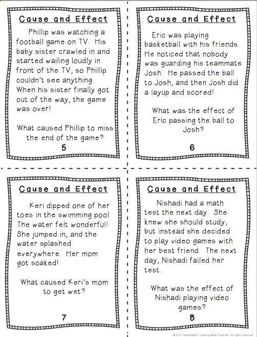 Cause and Effect Task Cards - students read a short paragraph and have to  identify causes a…   Cause and effect, Cause and effect essay, Cause and  effect activities