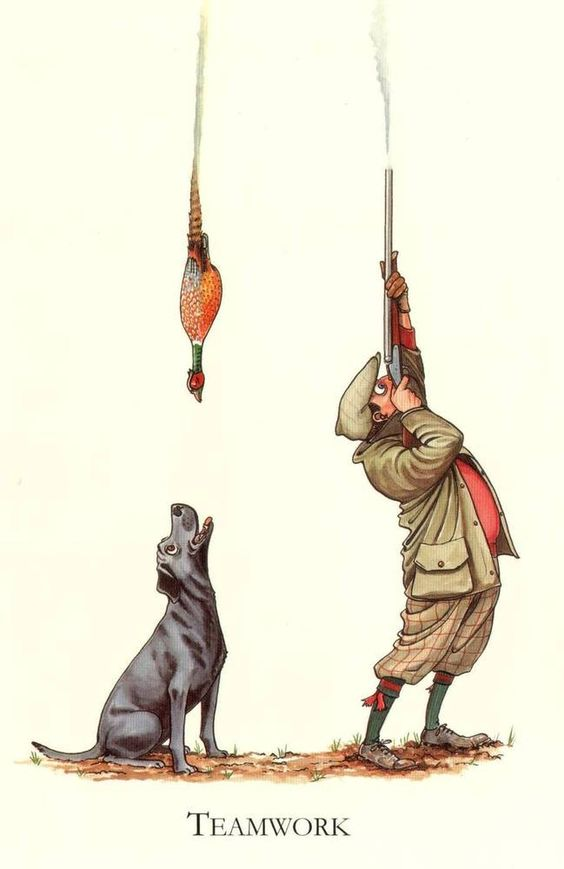 Country Humour Shooting Hunting Funny Mounted Cartoon... Teamwork