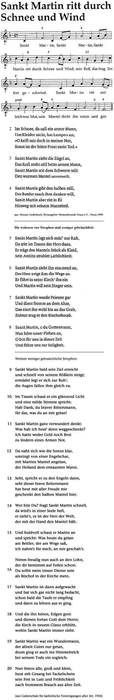 Sankt Martin (St. Martin), Heiliger Martin von Tours/Lieder/Sankt Martin ritt durch Schnee und Wind
