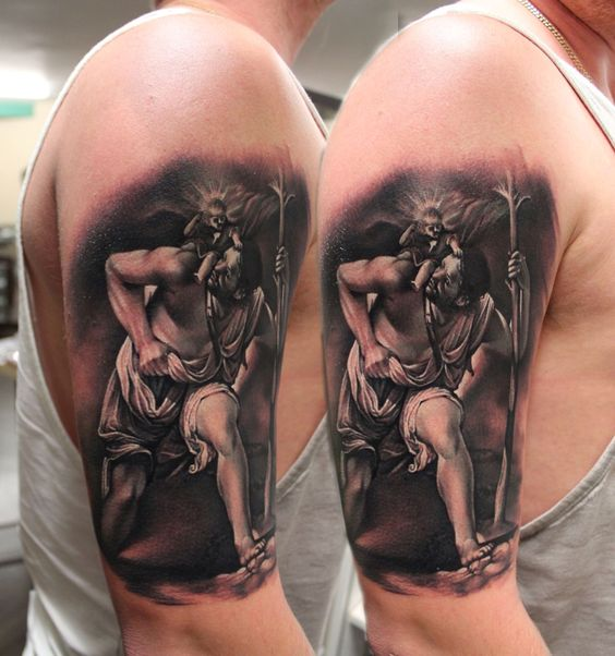 st christopher tattoo and tattoos and body art on pinterest. Black Bedroom Furniture Sets. Home Design Ideas