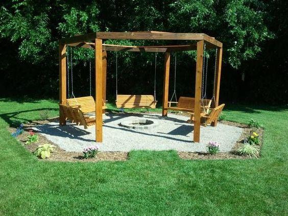 swing fire pit   Octagon five swing backyard swing./ fire pit.   Home Ideas