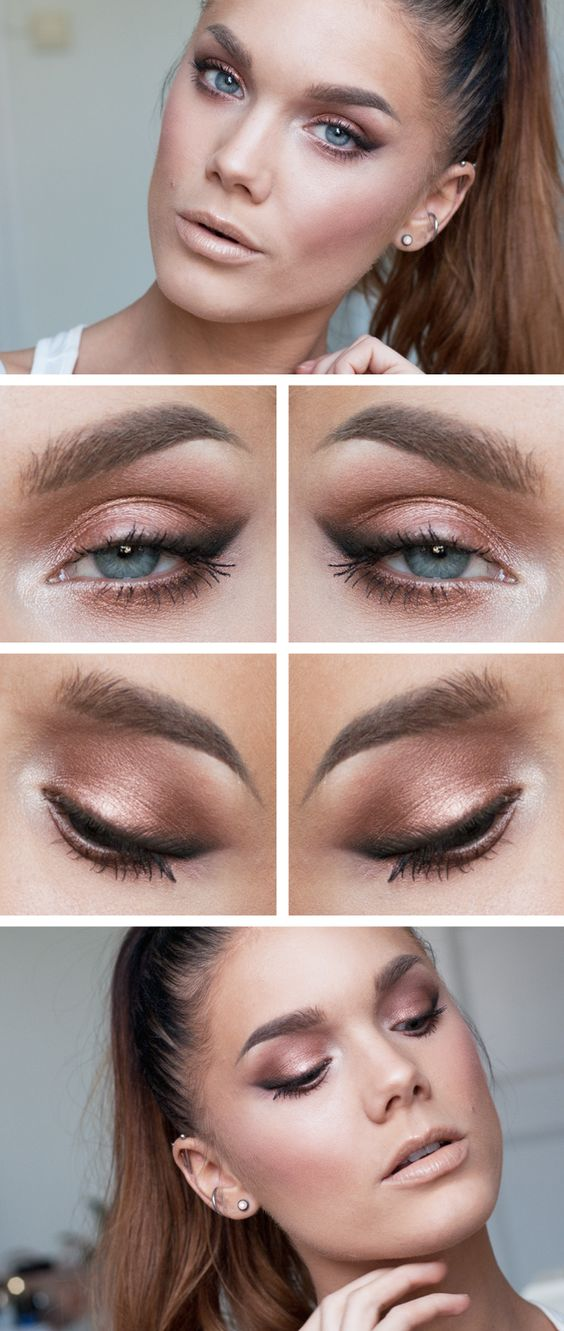 "Today's Look : ""Bare"" -Linda Hallberg (Today's look is a beautiful rose-gold eye with smudged eyeliner- love the softness, and a truly nude lip. Love it.) 09/11/13"