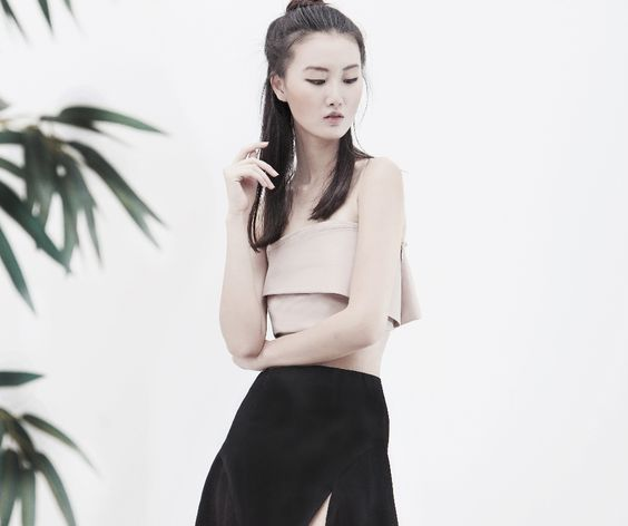 KIMIE cropped crepe top - AINE SPRING SUMMER 2015 - #bralet #crop #blush #wrap #fold #crepe
