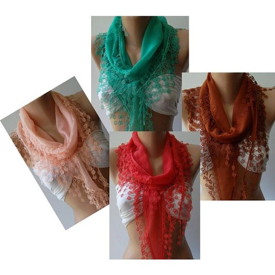 Nile Green  Elegance Shawl / Scarf with Lace Edge by womann, $16.90