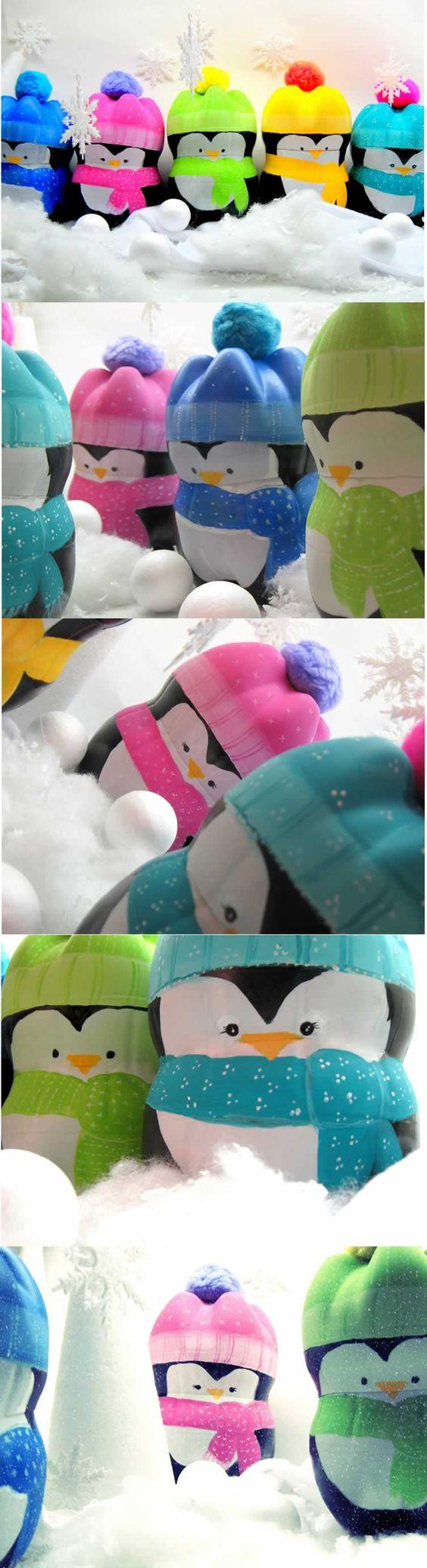 Pinguinos hechos con botellas plásticas Pinguins de garrafa PET