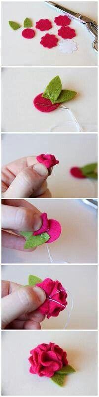 Flores de fieltro muy fàciles de hacer