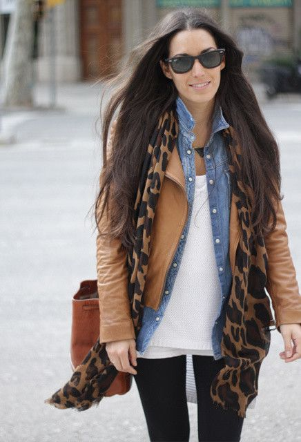 14 Ways to Wear Your Brown Jacket | Tan leather Chambray and