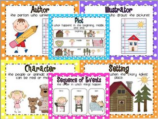 "http://livelovelaughkindergarten.blogspot.com/2012/04/tax-break-sale.html A set comprehension skill posters that are created using the book ""Goldilocks and the Three Bears."" I introduce one skill a week at the beginning of the year. It gives the kids a great visual reminder!"