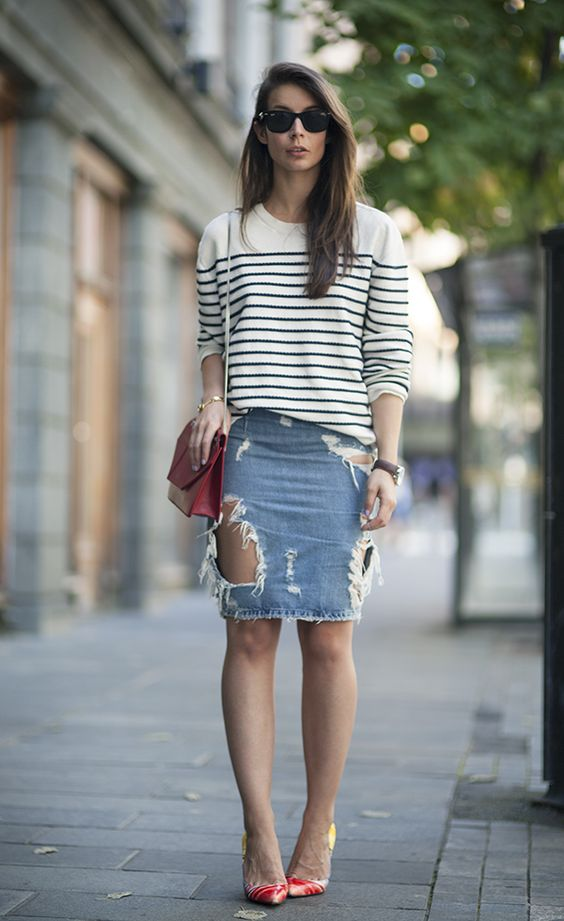 2013 Christian Dior sweater Acne ripped denim skirt Saint