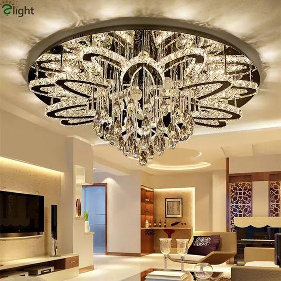 Controle Remoto Pode Ser Escurecido Led Lustre Lustre moderno K9 Cromo Inoxidável Levou Lustre de Teto de Cristal de Luxo Luz Foyer